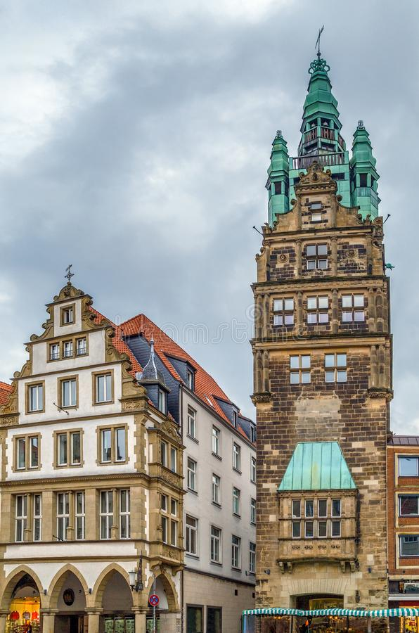 Town Hall Tower, Munster, Germany. Town Hall Tower is the city tower, located in the southern part of the Principalemarkt street in the city of Munster, Germany royalty free stock photo