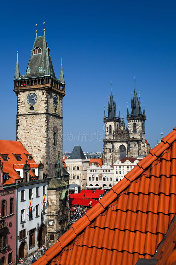 Town hall and Tyn Cathedral, Prague. Town hall and Tyn Cathedral on the old town square, Prague, Czech Republic royalty free stock photo