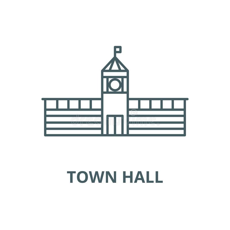 Free Town Hall Vector Line Icon, Linear Concept, Outline Sign, Symbol Royalty Free Stock Photography - 147193607