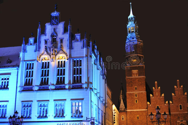 Town Hall in Wroclaw on Silvester Eve royalty free stock photos