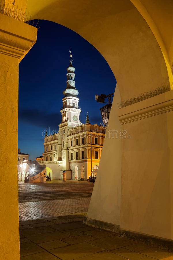 Town Hall in Zamosc royalty free stock image