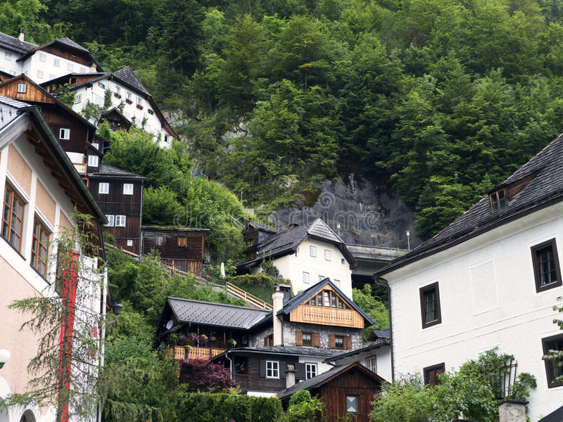 Town Hallstatt with mountain lake and salt mines. Alpine massif, beautiful canyon in Austria. royalty free stock images