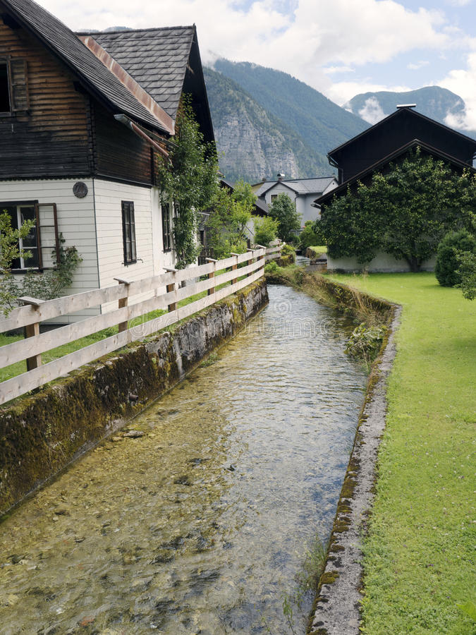 Town Hallstatt with mountain lake and salt mines. Alpine massif, beautiful canyon in Austria. royalty free stock photography
