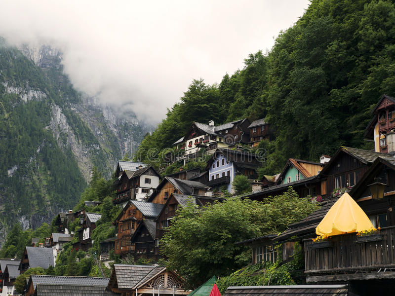 Town Hallstatt with mountain lake and salt mines. Alpine massif, beautiful canyon in Austria. stock photography