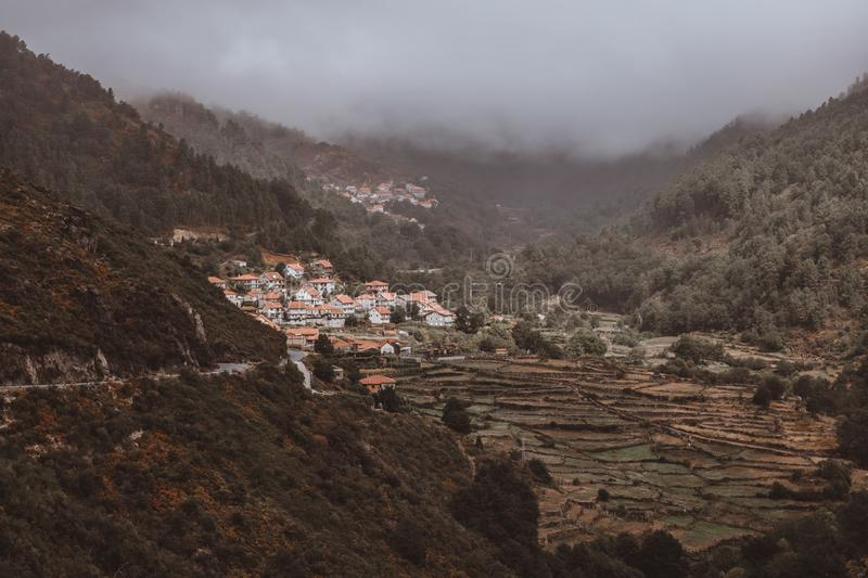 Town in the Hills stock photography