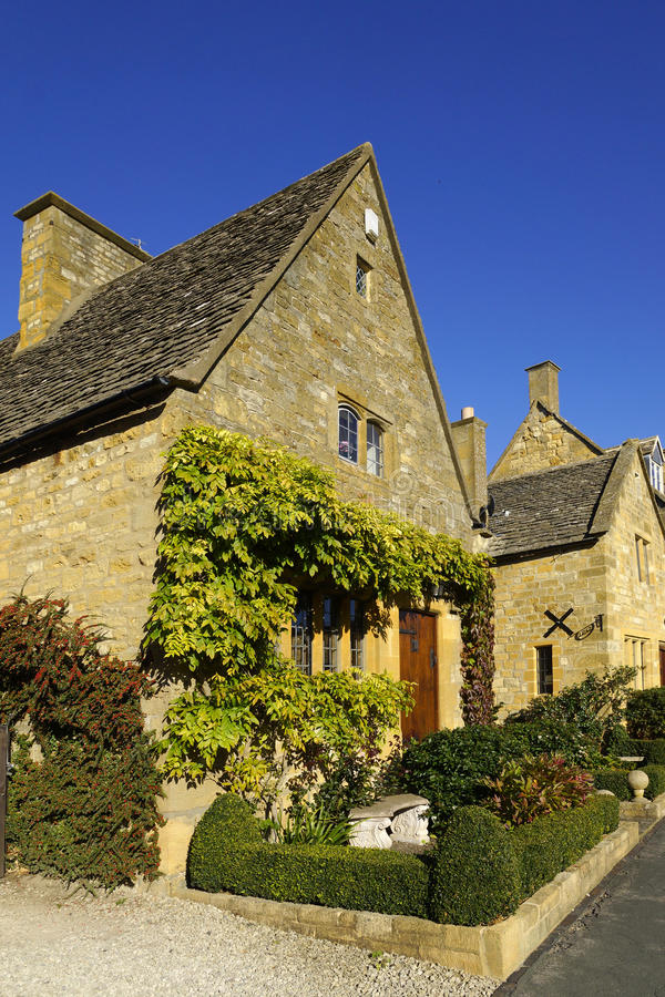 Town house. On the high street broadway village in the cotswolds county of worcestershire in the uk stock photo