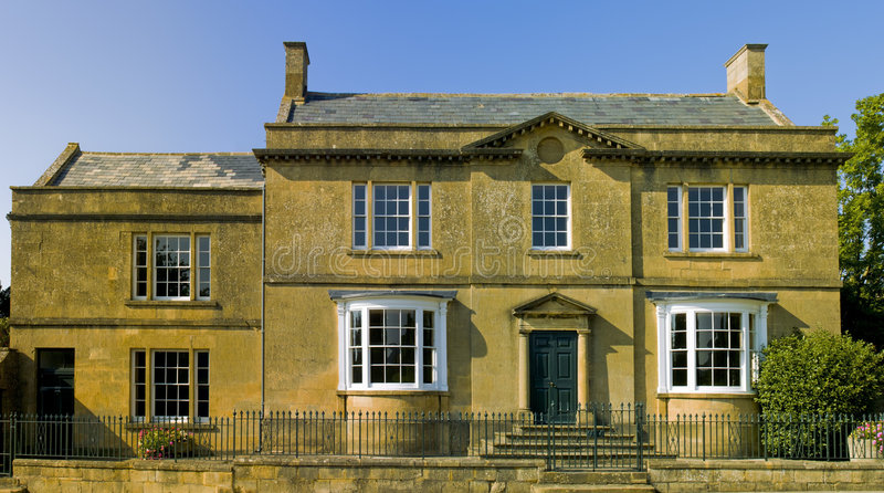 Town house. High street broadway cotswolds worcestershire uk stock photo