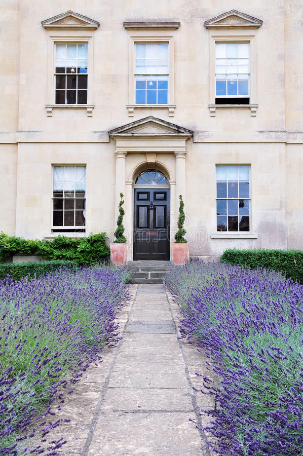 Town House and Garden. Beautiful Town House and Garden with a Lavender Lined Path stock photography