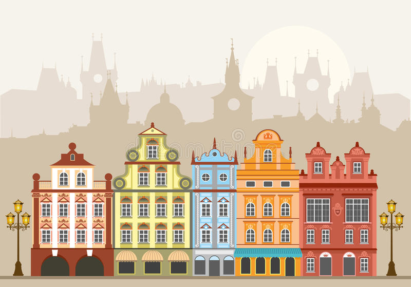 Download Town houses stock vector. Image of apartments, city, decorative - 19498550