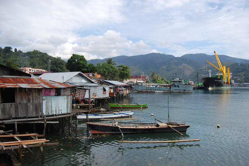 Town houses at coastline Jayapura. Indonesia royalty free stock photos