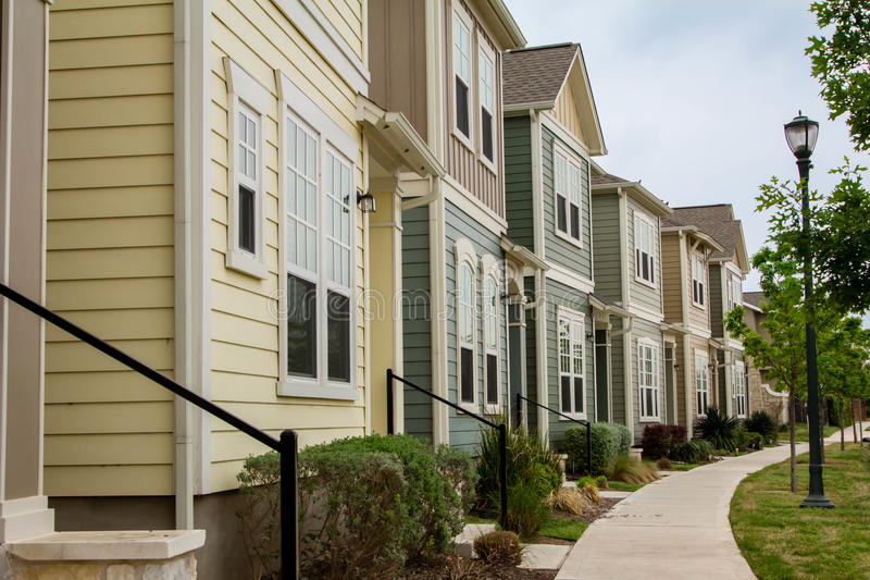 Town Houses. In the subdivision of Mueller in Austin, Texas stock photography