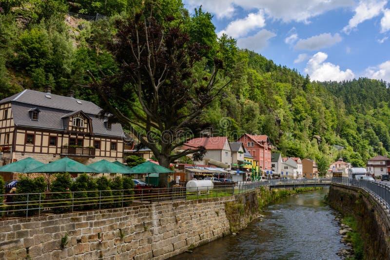 Town Hrensko on Kaminitska river in Bohemian Switzerland national park, Czech Republic. Europe stock photo