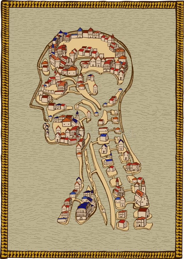Town of human anatomy. Medieval buildings