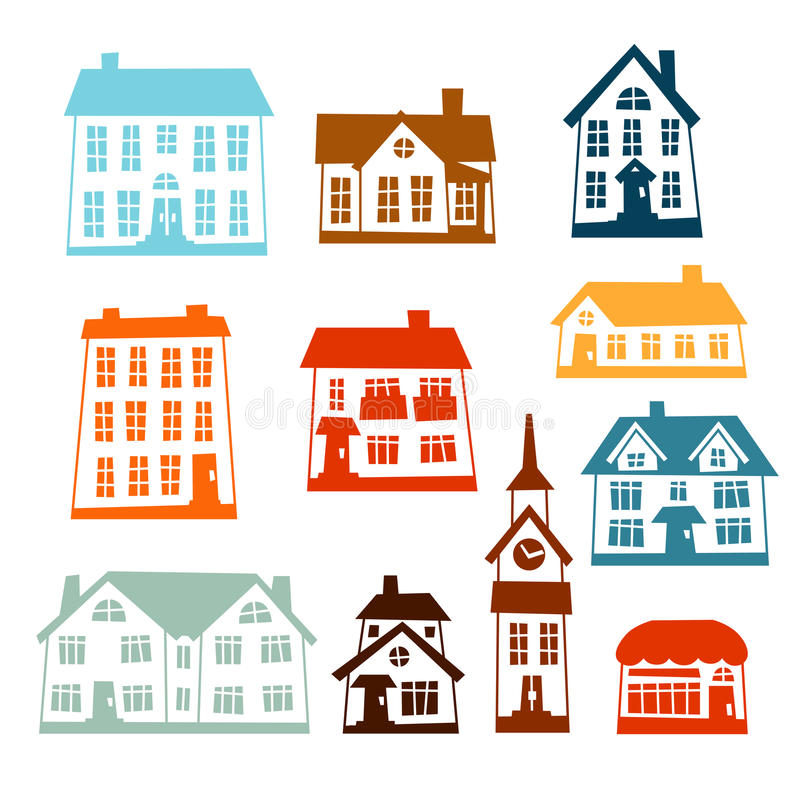 Town icon set of cute colorful houses royalty free illustration