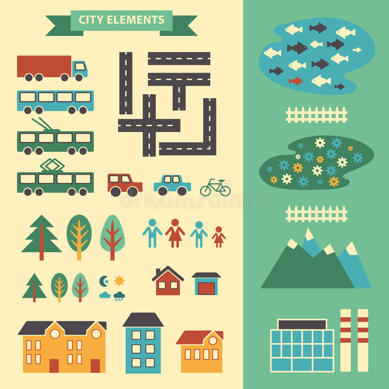 Town infographic elements vector city elements for create Create a map online free