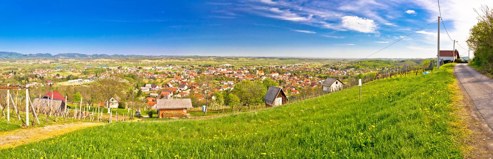 Town of Ivanec panorama from green hills, Zagorje, Croatia royalty free stock photography
