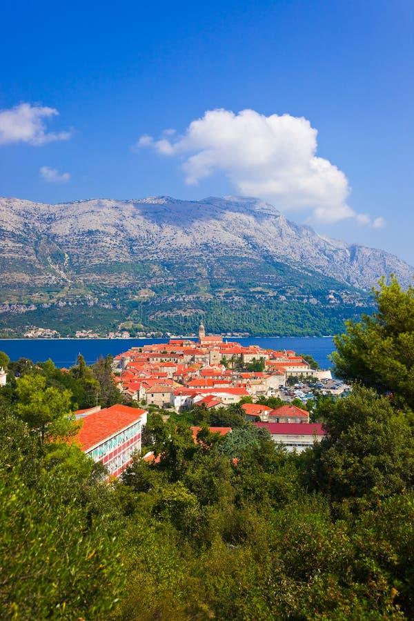 Town Korcula i Kroatien royaltyfria foton
