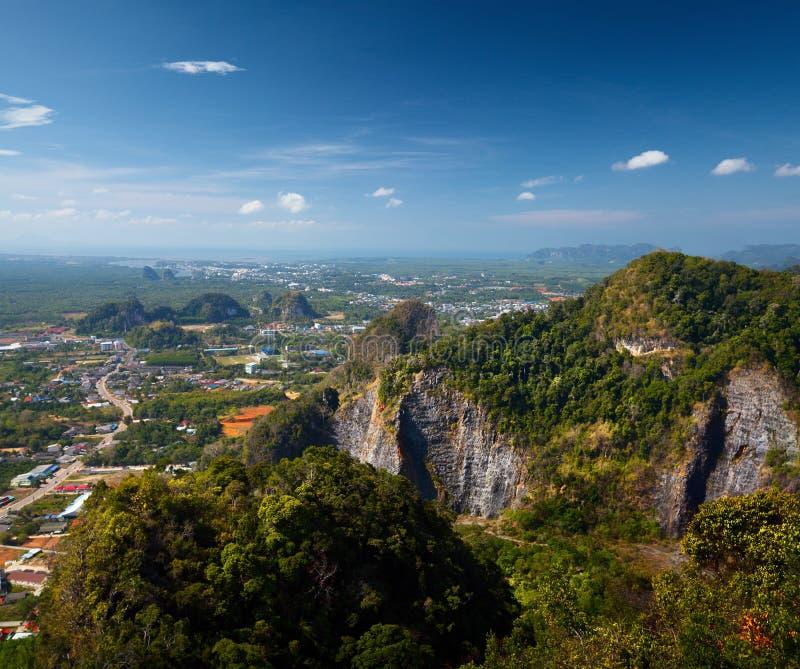 Town of Krabi. Valley with limestone mountains of the town of Krabi, on the horizon, Thailand stock photos