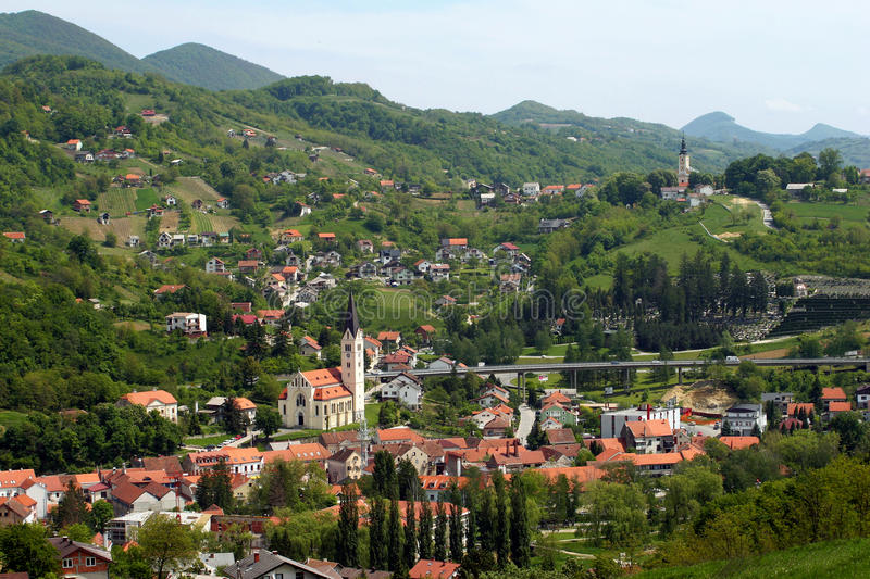 Town Krapina on green hills royalty free stock image