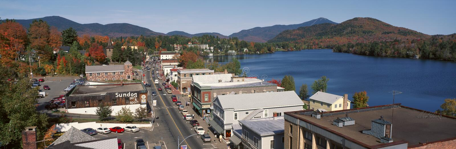 Town of Lake Placid. In Autumn, New York royalty free stock photo