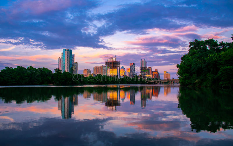Town Lake Reflections Lou Neff Point Austin Texas Cityscape. Austin Life Lou Neff Point Reflection Sunset 2015. This landscape was taken on June 14th 2015. The stock photos
