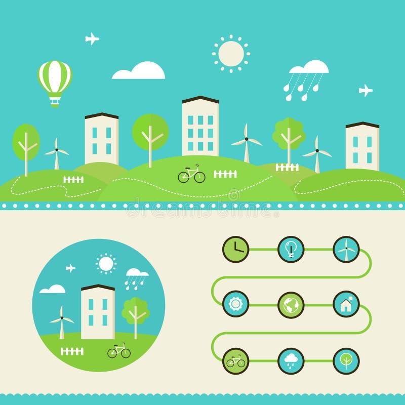 Environmental Concept Earthfriendly Landscapes: Town Landscape. Eco Living Infographics Elements Stock