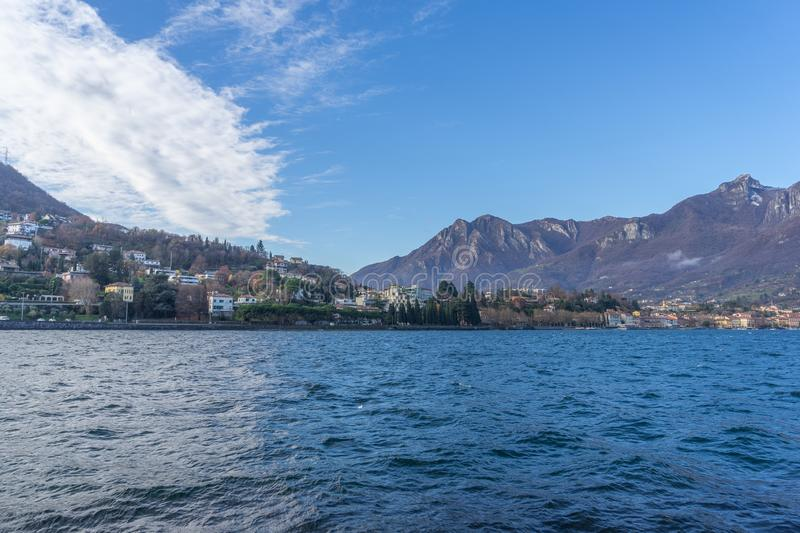 Town of Lecco, Italy in December time stock photography