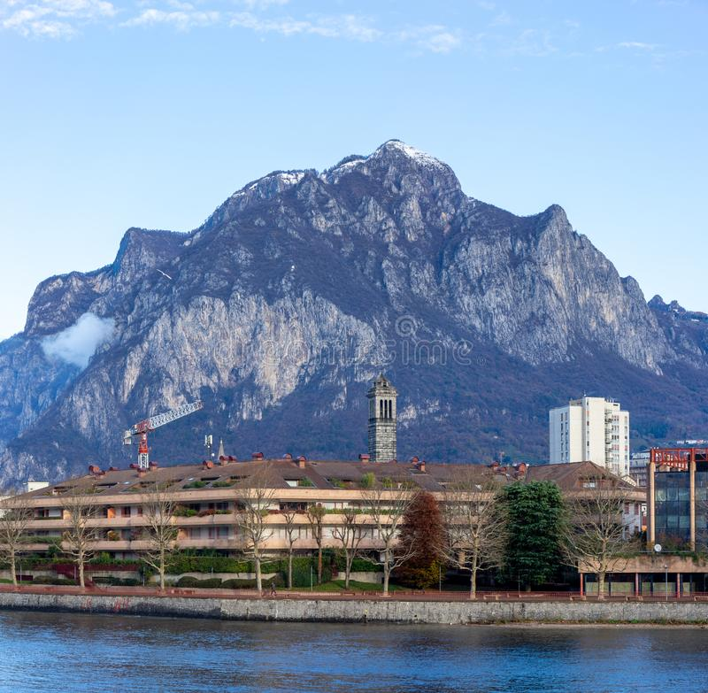 Town of Lecco, Italy in December time royalty free stock photography
