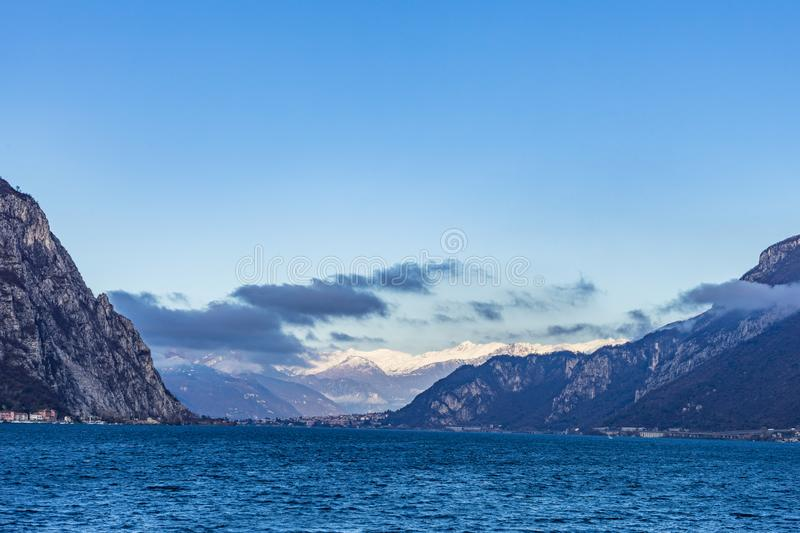 Town of Lecco, Italy in December time royalty free stock images
