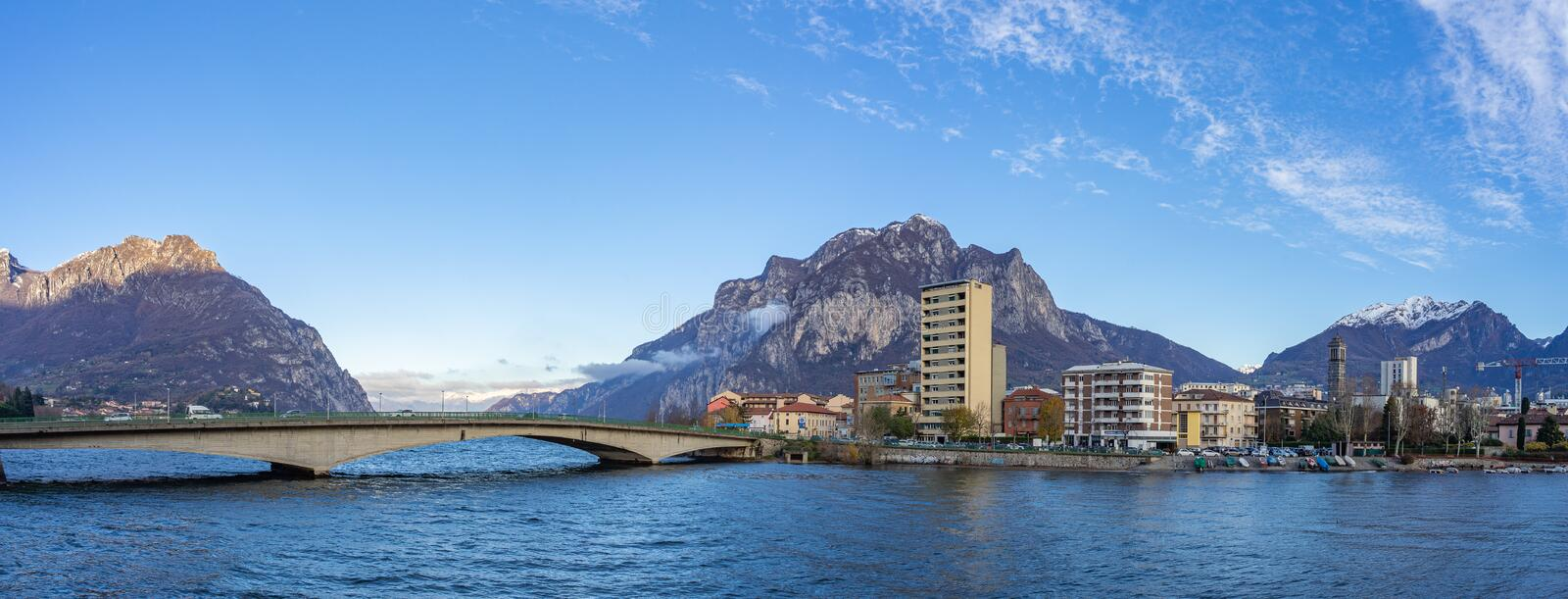 Town of Lecco, Italy in December time stock photo