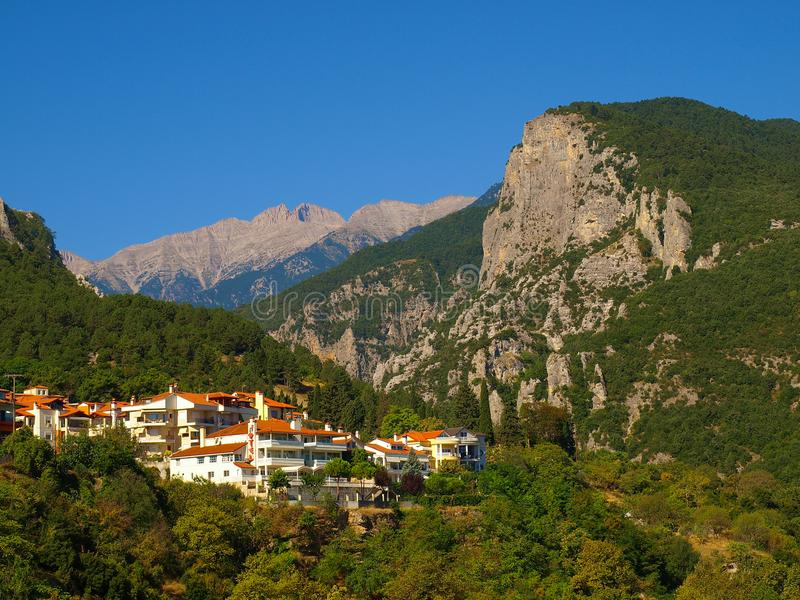 The town of Litochoro with Mount Olympus in the background. In Greece royalty free stock photo