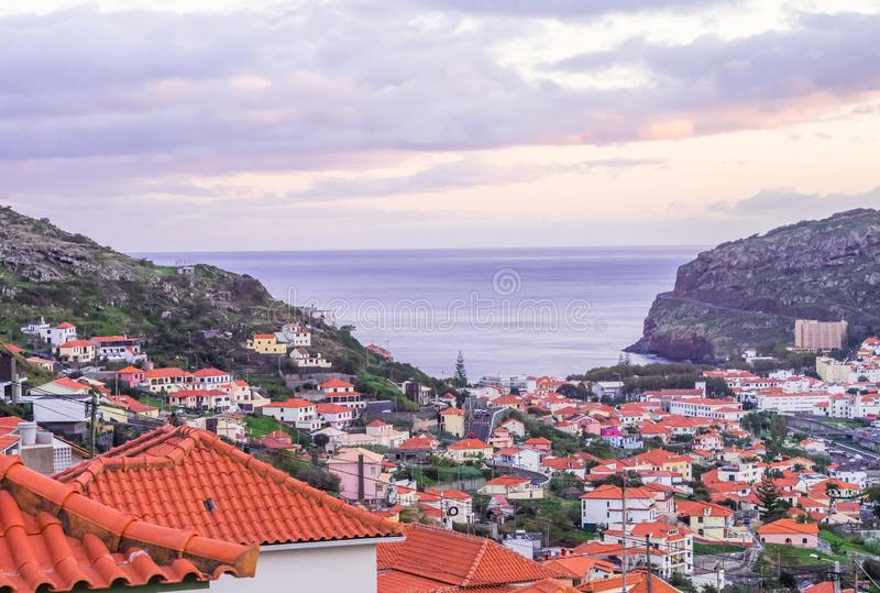 Town on the Madeira Island, Portugal, shortly after sunset.  stock photo
