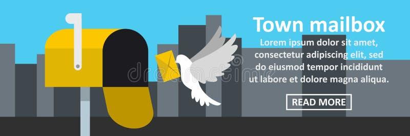 Town mailbox banner horizontal concept vector illustration