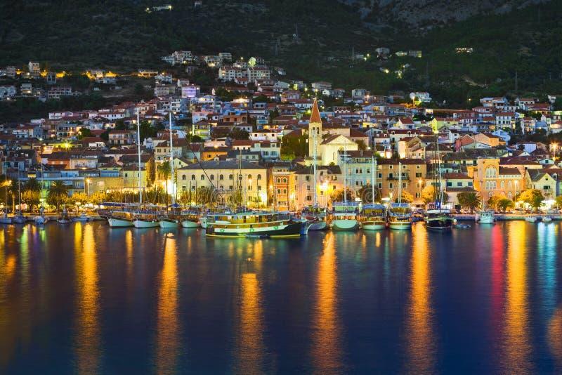 Town Makarska in Croatia at night. Travel background royalty free stock photo