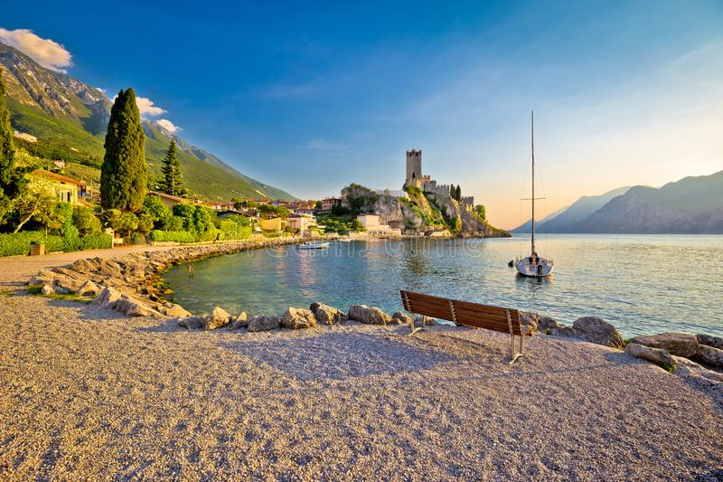 Town of Malcesine castle and beach view. Veneto region of Italy, Lago di Garda royalty free stock photography