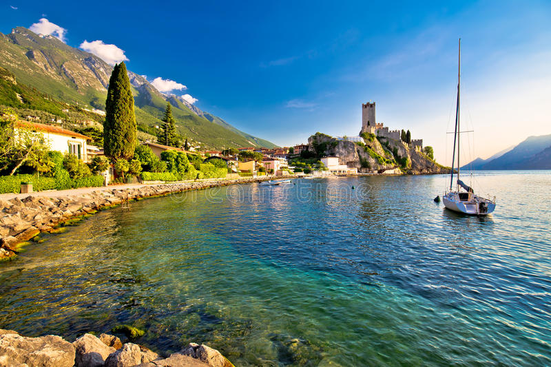 Town of Malcesine castle and waterfront view. Veneto region of Italy, Lago di Garda stock image