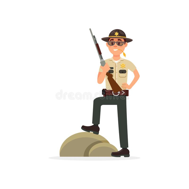 Town male sheriff police officer character in official uniform standing with rifle, policeman executing civil judgment royalty free illustration