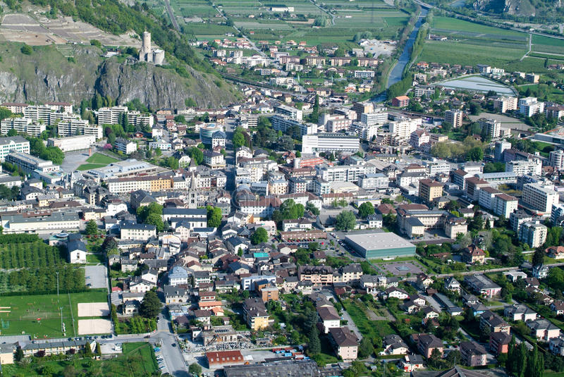The town of Martigny. On the Swiss alps stock photography