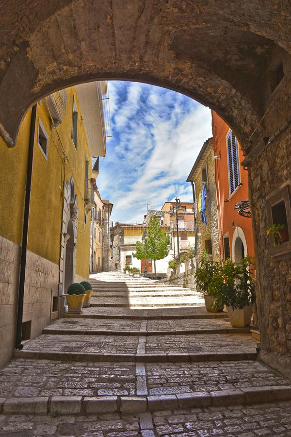 A street in Frosolone, a town in the Molise region. royalty free stock photos