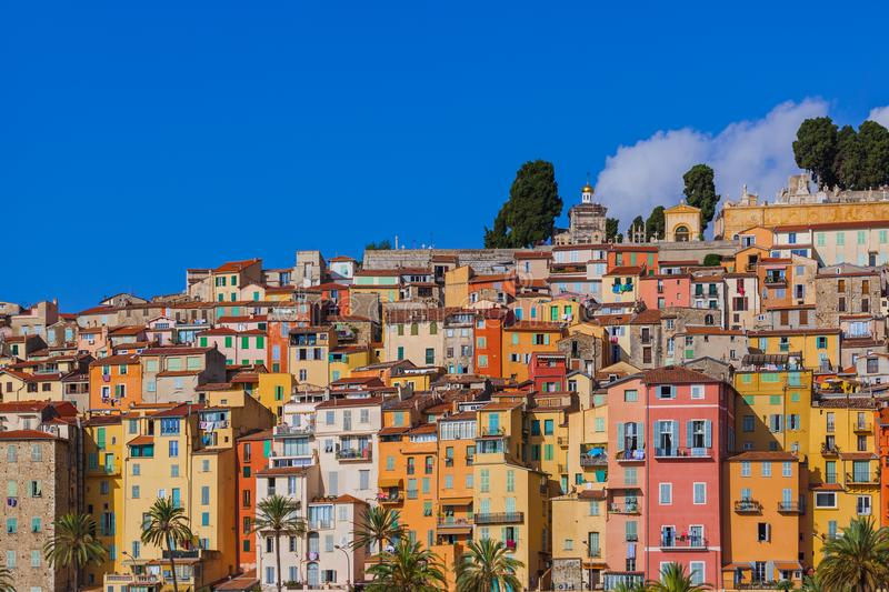 Town Menton in France. Travel and architecture background stock photo