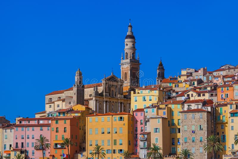 Town Menton in France. Travel and architecture background stock images