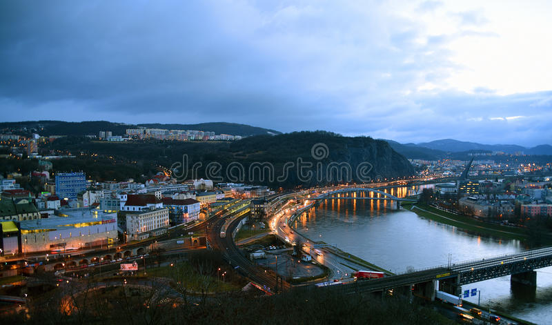 Town in morning. Town Usti nad Labem in winter morning royalty free stock image