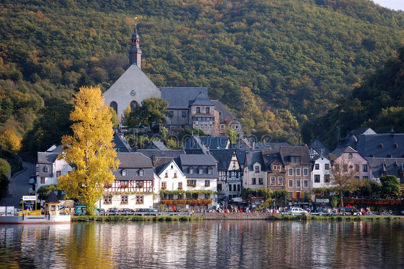 A Town on the Moselle River, Germany stock photos