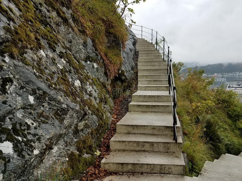 Town Mountain steps for Aksla Viewpoint, Alesund Norway. In Alesund Norway there are 418 steps up to Aksla  from the Town Park. Fjellstua, at the top with a royalty free stock photography