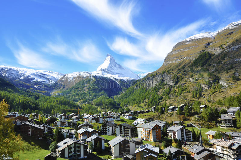Town and mountain stock images
