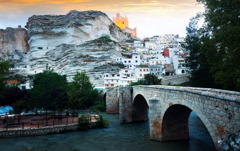 Town in mountains of Castilla-La Mancha. Alcala del Jucar. Province of Albacete, Spain royalty free stock photo