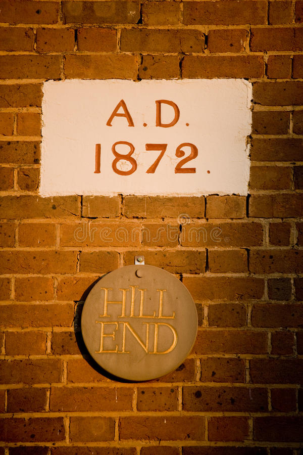 Town Name 1872. A stone in a building showing the date it was built, 1872, along with the name of the town it is in 'Hill End stock photos