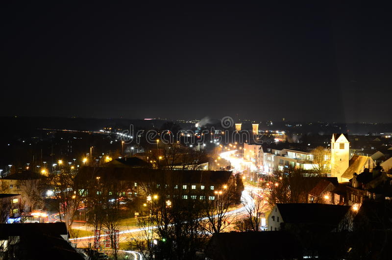 Town at night royalty free stock photos