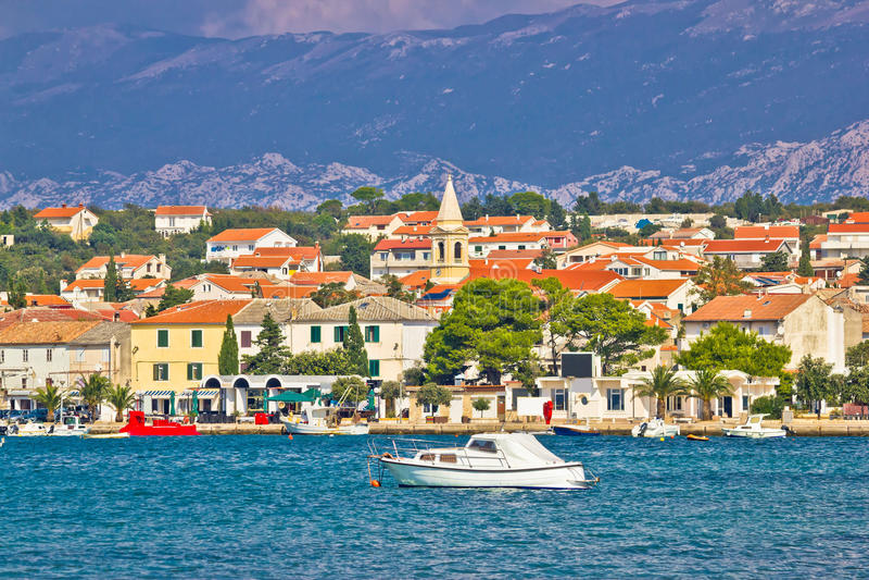 Town of Novalja on Pag island. Waterfront view, Dalmatia, Croatia stock photos