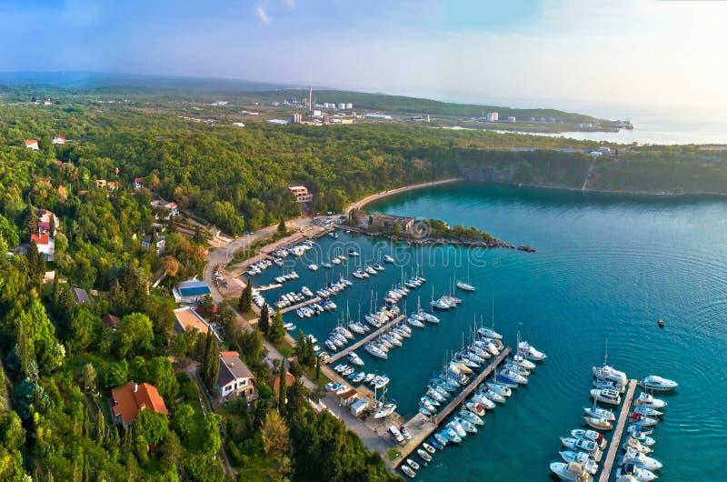 Town of Omisalj on Krk island Pesja bay aerial view. Kvarner bay of Croatia royalty free stock photography